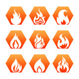 White fire flame on colorful backdrop - fire flame icons set vector. Collection of fire sign illustration Royalty Free Stock Photography