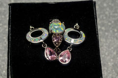 White Fire Opal Jewelry Set. Fashion earrings and ring with white fire opal and pink topaz stock image