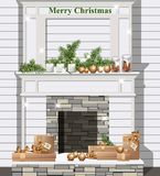 White fireplace with Christmas decor Vector realistic. Detailed illustration Stock Image