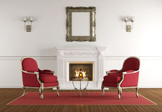 White fireplace in a classic living room Royalty Free Stock Photos