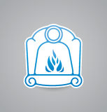 White fireplace icon on grey background. Vector illustration fireplace icon. eps10. Stock Images