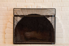 White Fireplace Stock Photography