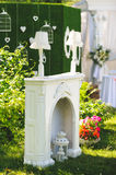 White Fireplace in Yard Stock Photos