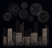 White firework show on night city landscape background. Vector illustration Stock Photos