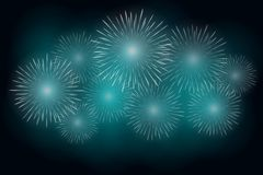 White fireworks effect on blue background. Festive firework cracker in night sky. Vector illustrati. On Royalty Free Stock Image