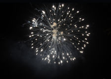 White  fireworks in sky at night Royalty Free Stock Images