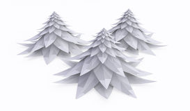 White Firs, Short. Stylized cartoon 3d fir tree, over white Royalty Free Stock Images