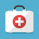 White first aid kit. On blue background. Health, help and medical diagnostics concept. Flat design. Vector illustration. EPS 8, no transparency Royalty Free Stock Photo