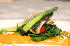 White fish with asparagus Stock Photo