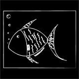 White fish on a black background. In a square Royalty Free Stock Image