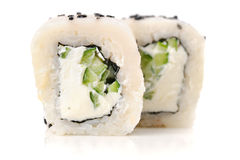 White fish, cream cheese, black sesame seeds and cucumber sushi Royalty Free Stock Photos