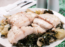 White fish fillet with bok choy Royalty Free Stock Photography