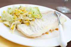 White fish fillet with salad and wine Stock Images