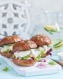 White fish fillet sandwich with tartar sauce. And salad Stock Photography