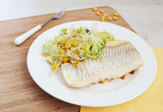 White fish fillet with savoy cabbage and corn Stock Photography