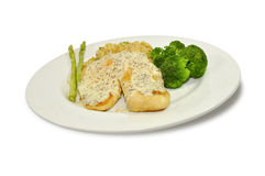 White fish fillet. Served with asparagus, broccoli and fried rice Stock Photos