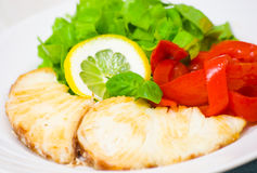 White fish fillet with vegetables Stock Photo