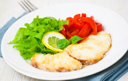 White fish fillet with vegetables Royalty Free Stock Images