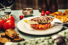 White fish fillet with vegetables Stock Photos