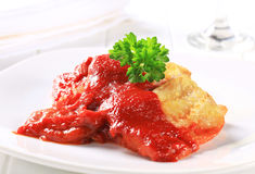 White fish fillets with tomato sauce Stock Photo