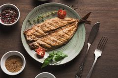 White fish juicy fillet grilled on barbecue Stock Photography