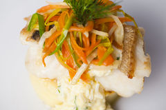 White fish with mashed potatoes and gravy, vegetables, onion dill carrot on a plate for restaurant menu top Stock Images