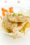 White fish and pinapple. With peanut and pepper dressing Stock Photos