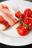 White fish rolls with ham Stock Photo