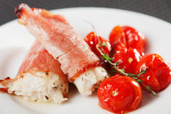 White fish rolls with ham Stock Images