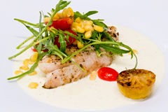 White fish steak in cream sauce Royalty Free Stock Image