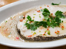 White fish steamed with lemon Stock Photo