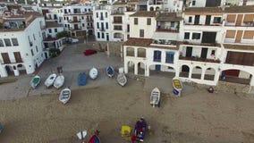 White Fishing Village High Aerial Shoot stock video
