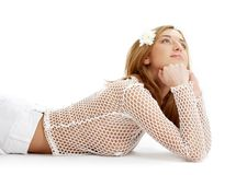 White fishnet girl with flower Royalty Free Stock Images