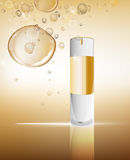 White flacon image. White glass flacon with golden elements. Beautiful vector illustration in realistic style. Cosmetic, skin care or perfumery concept in light Stock Photo
