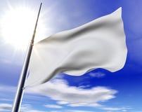 White flag. 3d image of white flag against the blue sky stock illustration