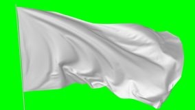 White flag with flagpole waving in the wind stock footage