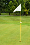 White flag on a golf course. Focus on the flag Stock Photography