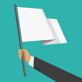 White flag in habd. Businessman holds white flag of surrender. Hand holding blank flag. Flat style vector illustration. Surrender concept Stock Image