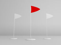 2 white flag with 1 red flag. On white background Royalty Free Stock Image