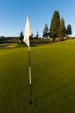 White flag with a stripped pin on golf green Royalty Free Stock Images