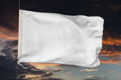White flag waving on the storm Stock Photo