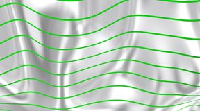 White flag whit green lines to the wind. Royalty Free Stock Images