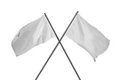 White flags crossed Stock Photography