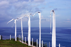 White flags in the wind beside ocean Stock Images