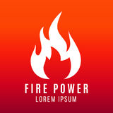 White flame of fire logo design on bright background. Fire power vector illustration Stock Photography