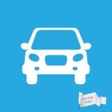 White flat car button icon Royalty Free Stock Photography
