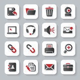 White flat computer icons. White flat modern computer interface icons with long shadow stock illustration