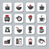 White flat cooking and food icons. White flat modern cooking and food icons with long shadow stock illustration
