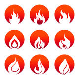 White flat fire icons in fire rounds design. White flat fire icons in red rounds design. Collection of flame sings. Vector illustration Royalty Free Stock Image