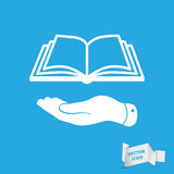 White flat hand giving the book icon Royalty Free Stock Photography